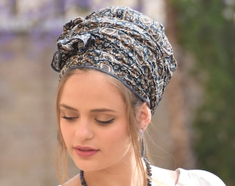 Dark Blue Floral Headscarf Tichel, Head Scarf, Haircovering, Pashmina, Hair Snood, Chemo Head Covering, Jewish headcovering, Bandana