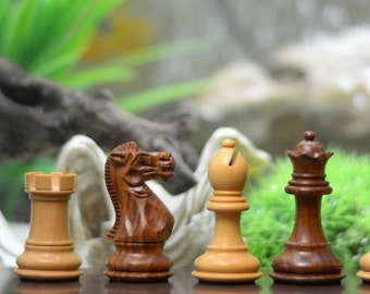 """The Classic Series Wooden Weighted Economy Chess Pieces Shesham & Box Wood - 2.8"""" King. SKU: D0178"""