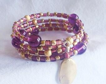 Beaded Purple and Gold Memory Bracelet