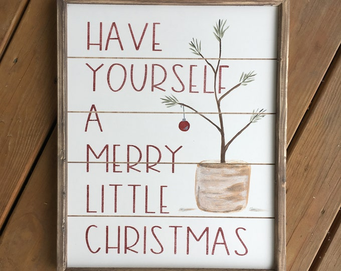 Featured listing image: Reversible Christmas sign, reversible fall sign, have yourself a merry little Christmas, thankful sign, fall sign, farmhouse sign