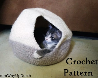 Felted Cat Cave - Crochet PATTERN - 2 Sizes, wool cat bed/cave
