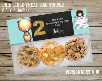 WOODLAND PERSONALIZED Ziploc Treat Bag TOPPER, Woodland Party Favors, Boy Woodland Birthday, Boy Woodland Candy Bag Topper