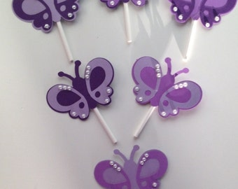 Purple Butterfly Cupcake Toppers, Garden Party Cupcakes, Purple Bridal Shower, Purple Baby Shower, Purple Birthday, Butterfly Birthday
