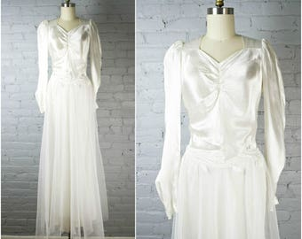 Vintage 30s 40s white satin and tulle wedding dress .  1930s 1940s wedding gown . xsmall