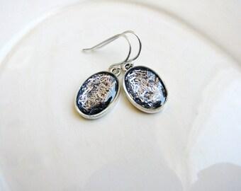 Silver Glitter Earrings, Glitter Earrings, Bridal Jewelry, Resin Earrings, Minimalist Earrings, Simple Dangle Earrings, Sparkly Earrings