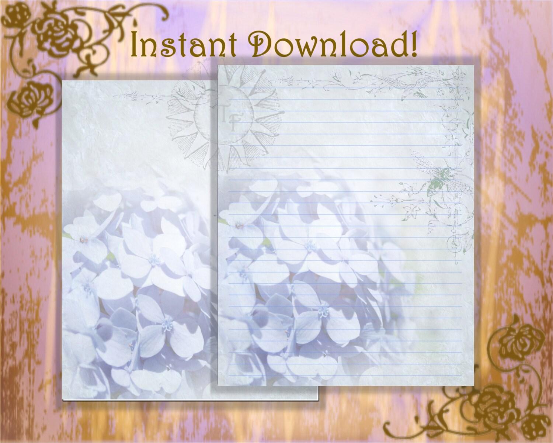 Blau, Briefpapier, Blaue Hortensie Schreibwaren, weiße Blüten ...