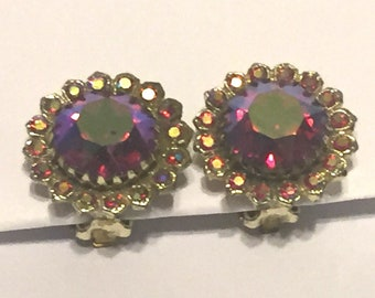 Bright Pink Aurora Borealis Clip On Earrings