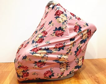 """Infant Baby Stretchy Multi-Functioning """"Blushing Flowers"""" Car Seat Cover, Nursing Cover, Cart Cover"""