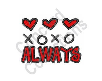Love Always - Machine Embroidery Design, Hearts, Hugs And Kisses