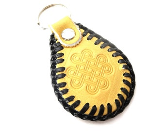 Silver Tone Reversible Embossed Celtic Knot & Royal Crest Cream and Brown Vintage Leather Keychain