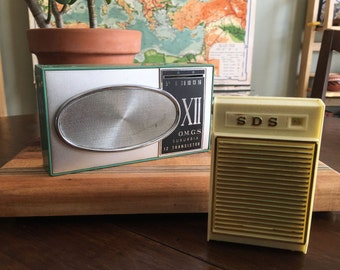 Pair of Transistor Radios - Green Suburbia XII OMGS Transistor Radio and SDS Solid State Portable Radio