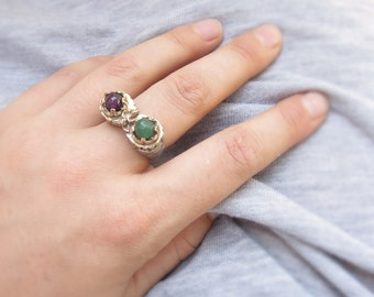 Chrysoprase and Amethyst Ring Brass Bezel Ring Stone jewelry