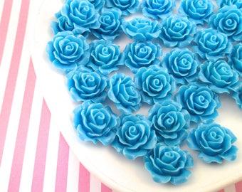 10 Blue Rose Cabochons 20mm
