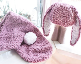 0 to 3m Baby Cocoon Set Baby Bunny Hat Newborn Cocoon Set Baby Shower Gift Crochet Cocoon Baby Set Plum Baby Hat Bunny Ears Gift