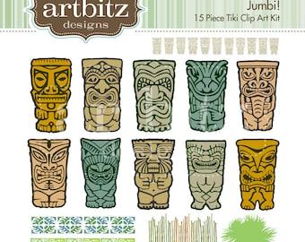 Jumbi No. 05001 Tiki 15 Piece Clip Art Kit, 300 dpi .jpg and .png
