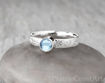 Silver Aquamarine Ring -  Sterling Silver - Handcrafted -  Aquamarine Birthstone Ring - March Birthstone Ring