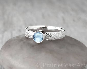 Silver Aquamarine Ring -  Sterling Silver - Handcrafted -  Aquamarine Birthstone Ring - March Birthstone Ring