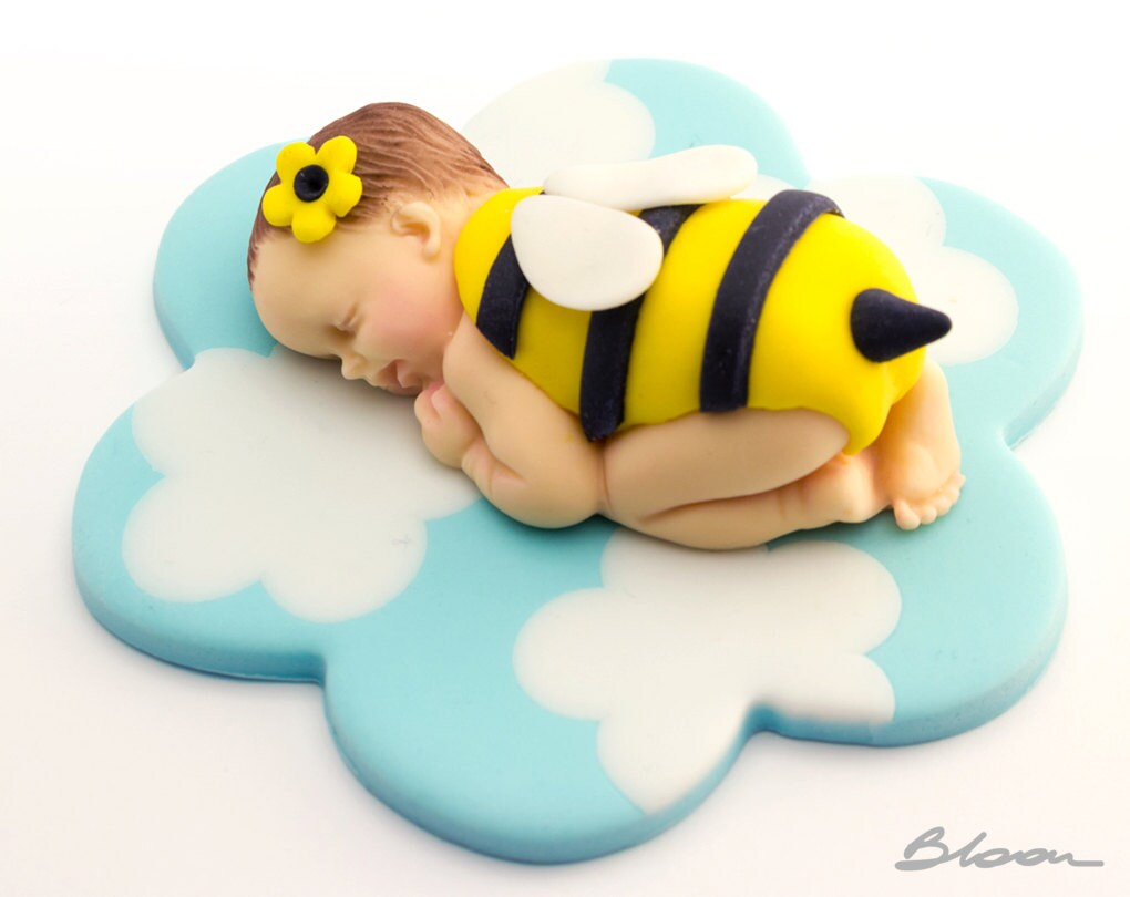Fondant Baby Cake Topper Bee Shower