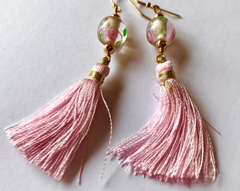 Pretty in Pink, Baby Pink Silk like Tassel Earrings, with Flower Lampworked Glass Accent, Dainty and Feminine