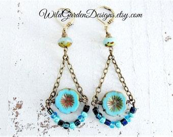 Blue Bohemian Flower Earrings Czech Glass and Brass Dangles Gift for Her Vintage Inspired Flower Chandelier Earrings Robins Egg Blue Dangles