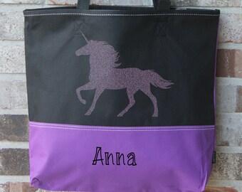 Personalized Tote Bag - Girl Tote Bag - Unicorn Gift - Unicorn Tote Bag - Unicorn Party - Gift for Girls - Tween Girl Gift - Large Book Bag
