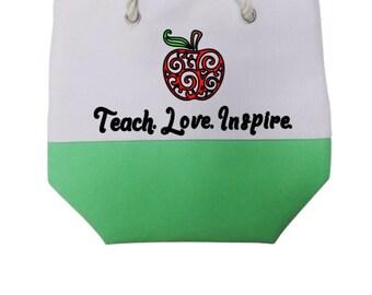 Customized/Personalized/Monogrammed  Color Block Teacher Appreciation Totes, Handbags