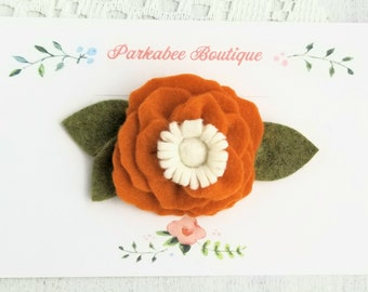 Rustic Orange Felt Flower