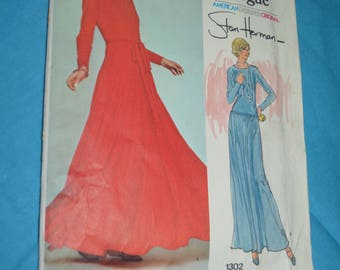 70s Vogue 1302 Misses Evening Dress Sewing Pattern UNCUT Size 8 Stan Herman Pullover Dress Close Fitting Bodice Circle Skirt