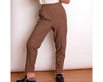 VTG 80s brown high waist minimalist trouser pants pleated tapered crop ankle