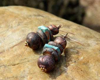 Rustic Stoneware Clay Bead Dangling Earrings