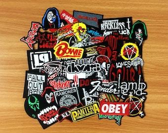 20 pcs. RANDOM Wholesale Embroidered Iron On Patch Music Rock Punk Band Music Heavy, Wholesale Mixed sizes Random, Music Rock Punk