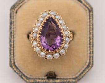 Vintage 1930s 14K Gold Amethyst & Seed Pearl Ring