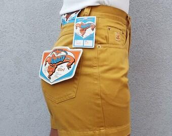 Vintage High Waisted Shorts, Yellow Shorts, Mustard Shorts, 80s Style, Portuguese Brand, Cotton Shorts, Summer Shorts, 1980, Vintage Clothes
