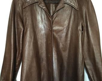 Vintage RALPH LAUREN COLLECTION Purple Label Brown Lamb Leather Jacket Coat Sz 8