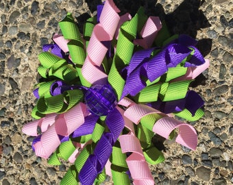 Hair Bow Clip - Light Pink, Purple and Green Ribbon Korker / Corker Hair Clip with Large Purple Bead