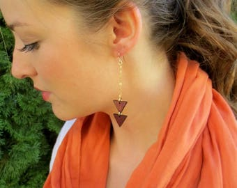 Geometric Earrings, Wood Dangle Earrings, Wood Triangle Earrings, Chandelier Earrings, Lariat Earrings
