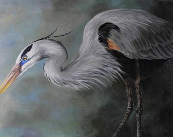Great Blue Heron painting - shore bird art - beach house decor - huge wall art - oversize painting - large canvas wall hanging
