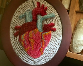 The Human Heart: An Anatomical Illustration in Wool
