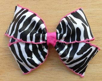 Zebra hair bow - hair bows, bows, hair bows for girls, toddler hair bows, baby bows, girls bows, hair clips, hairbows, bows for girls