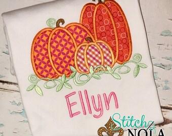 Pumpkin Trio Applique, Pumpkin Applique, Pumpkin Shirt, Fall Applique, Girl Pumpkin Applique, Boy Pumpkin Shirt, Pumpkin Romper