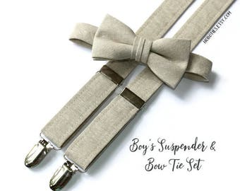 Boys Linen Suspenders~Natural Linen~Wedding Suspenders~Wedding Accessory~Boys Linen Bow Tie~Boys Linen Suspenders~Boys Suspender Set