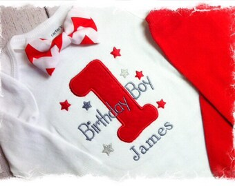 Boys 1st Birthday Outfit-Personalized Birthday Bodysuit with Red Chevron Bow Tie Only-Cake Smash