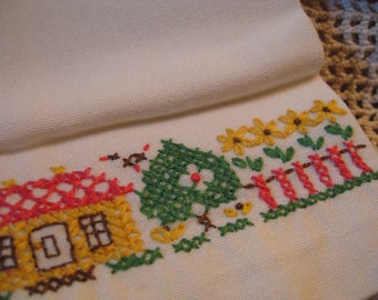 Vintage Embroidered Guest Towel with Houses and Trees// Small Embroidered Towel// Runner