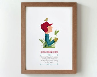 Illustration, Print, The Catcher in the Rye, J.D.Salinger, Tutticonfetti, Wall art, Art decor, Hanging wall, Printed art, Home, Gift idea.