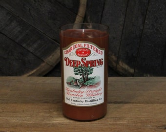 Deep Spring Bourbon Candle - Recycled Bourbon Bottle Candle Handmade Soy Candle 1 Liter Recycled Glass Bottle 22oz Soy Wax, Fathers Day Gift