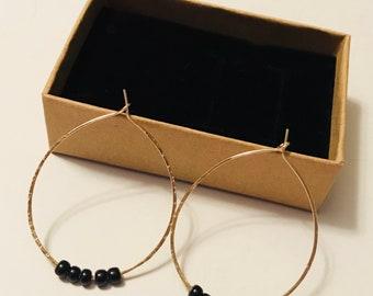 14k gold filled textured hoop earrings