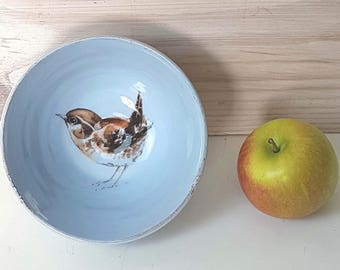 Wren, bird bowl, nature lovers, Handmade gift, cereal bowl, bird lovers gift, trinket dish, bird art, mother's day gift