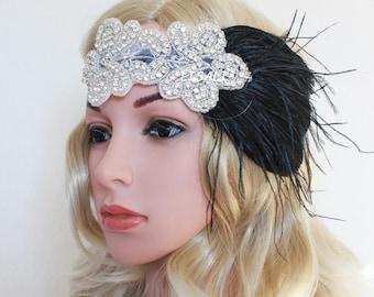 LISALI Black  Feather Hairpiece  Great Gatsby Wedding Hair Accessories Crystal Headband Bridal Headpiece 1920s Flapper headband