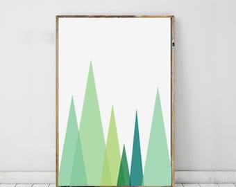 Mountain Art Print, Green Chevron Wall Print, Chevron Modern Art, Geometric Print, Shape Print, Modern Art For Home