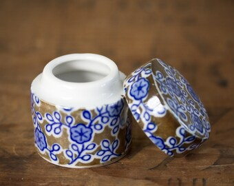"""Takahashi San Francisco 1.75"""" Porcelain Floral Cylinder Shaped Trinket Box with Lid"""